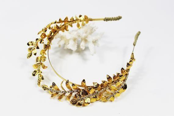 leaf crown Bridal Headband crystal Headband Luxury tiara vintage style crown tiara Tiara Headband Gold leaf heandband