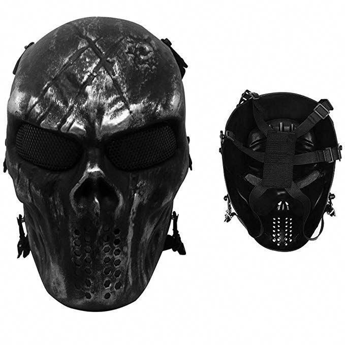 Tactical Full Face Skull Mask Mesh Eye Protection Mask Costume Mask For CS