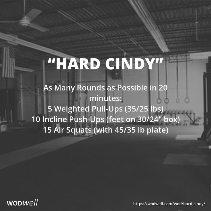 """""""Hard Cindy"""" WOD - As Many Rounds as Possible in 20 minutes: 5 Weighted Pull-Ups (35/25 lbs); 10 Incline Push-Ups (feet on 30/24"""" box); 15 Air Squats (with 45/35 lb plate)"""