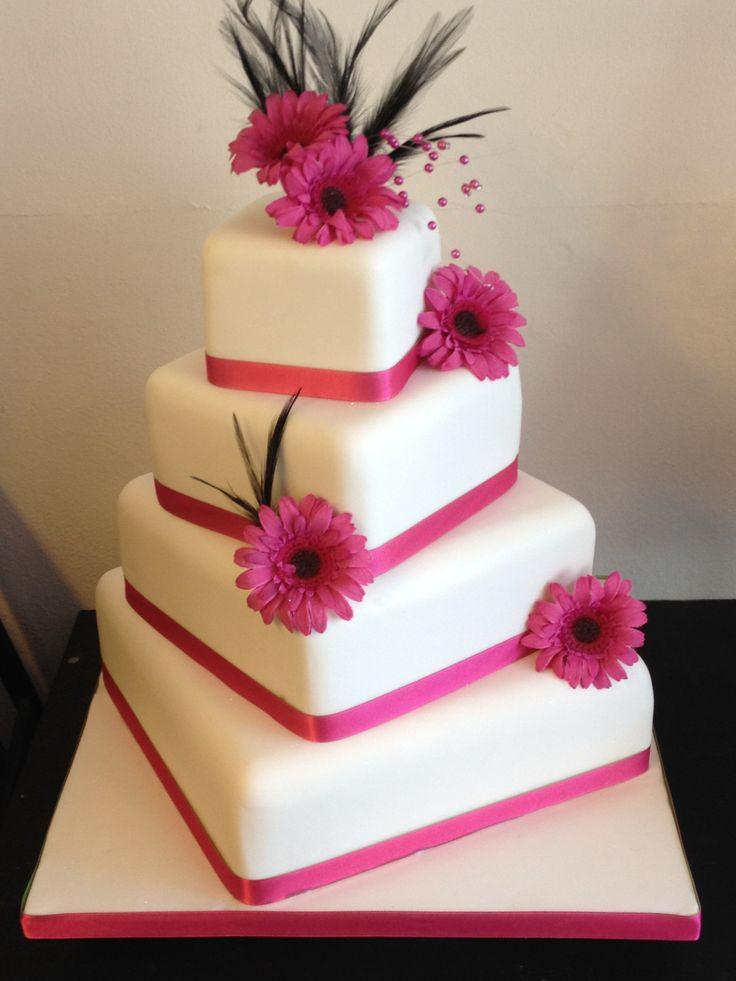 Pink Gerbera Wedding Cake – We Luv Cakes Limited / Rossendale Cake Makers / Lancashire / UK