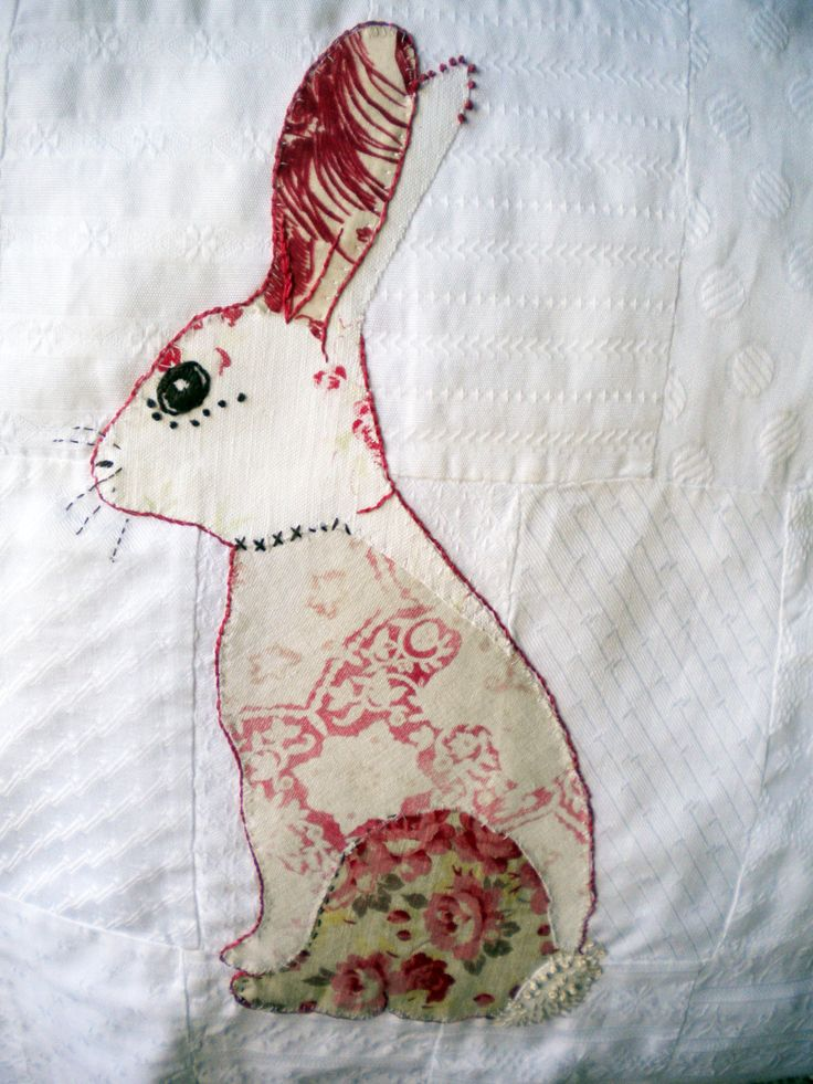 Embroidered Appliquéd Bunny in vintage French fabrics on vintage patch worked panel Large.. $42.00, via Etsy.