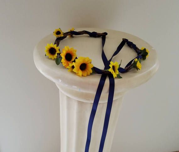 Country Wedding Hairstyles: Flower Girl Sunflower Halo Gifts For Her Navy Blue Country