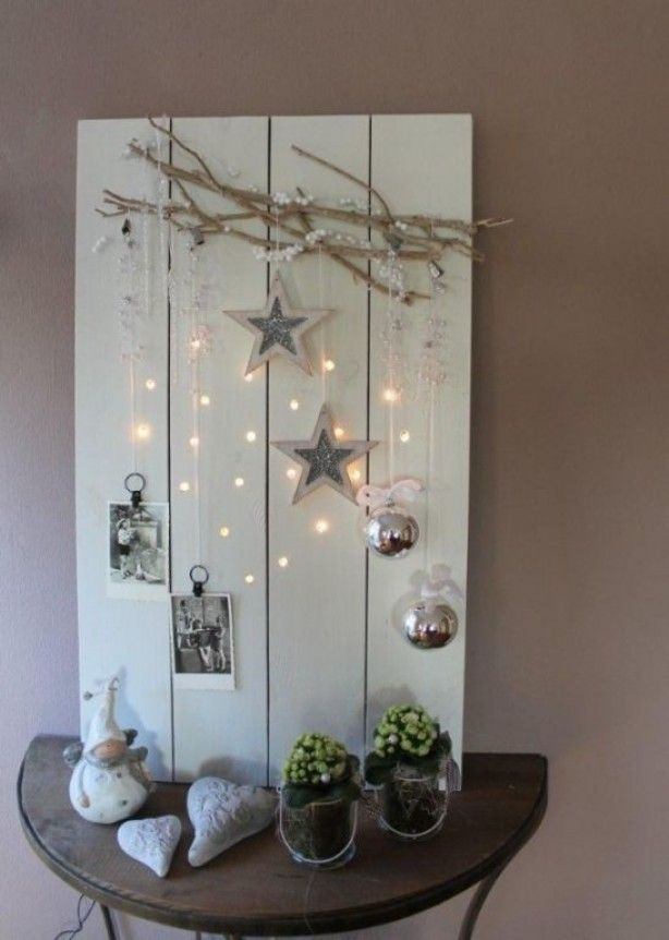 Just a picture but love the idea. I would drill the holes and stick the bulbs of a string of lights through the hole.