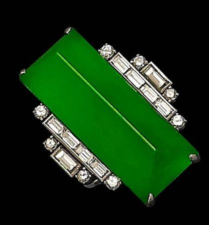 Wowzers!!! Holy Deco!!    An Art Deco jadeite and diamond ring. @designerwallace