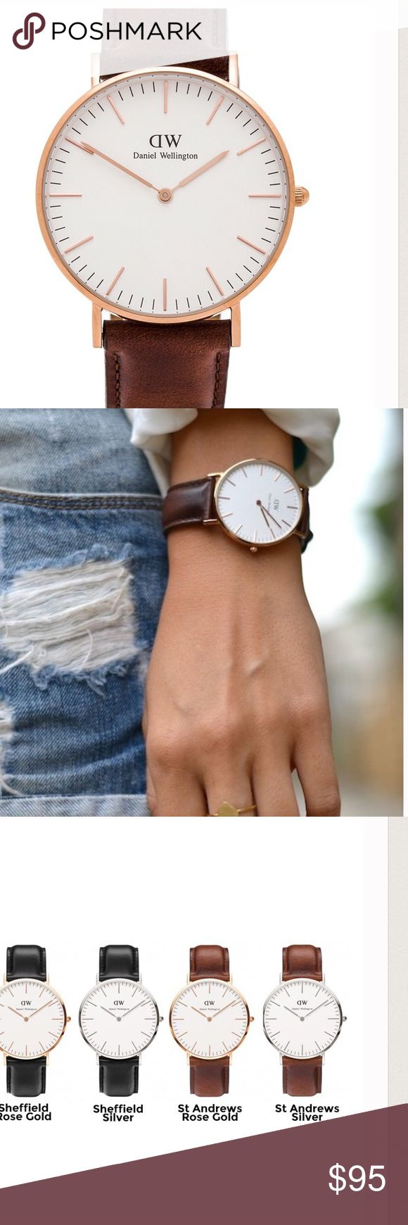 Daniel Wellington St Andrews 36mm watch Gorgeous timepiece by Daniel Wellington. Watch face is 36mm and straps are a beautiful mahogany color. Does have some wear - scratches on face (small) and lines on leather strap from wear - see picture above. Price reflects. Daniel Wellington Accessories Watches