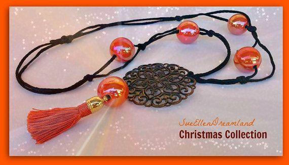 Boho long necklace  tassel , filigree  jewelry, pendant necklace,light orange, bohemian jewelry Christmas gift