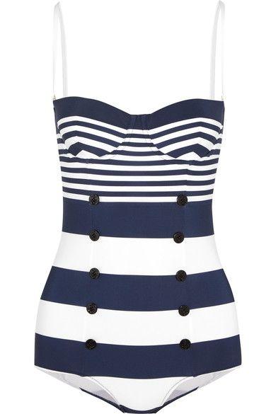 Dolce & Gabbana - Striped Swimsuit - Navy