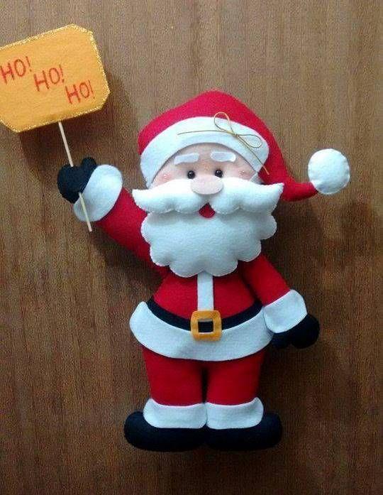 Feltro Fácil: Papai Noel Fofinho em Feltro... Free pattern for this cute felt Santa!!