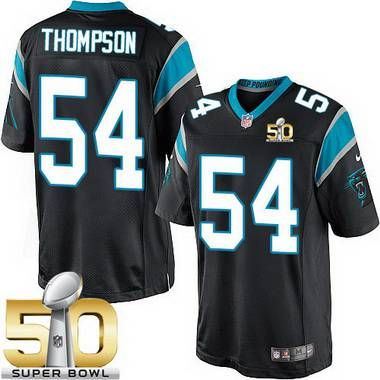Men's Carolina Panthers #54 Shaq Thompson Black Team Color 2016 Super Bowl 50th Patch Bound Game Jersey