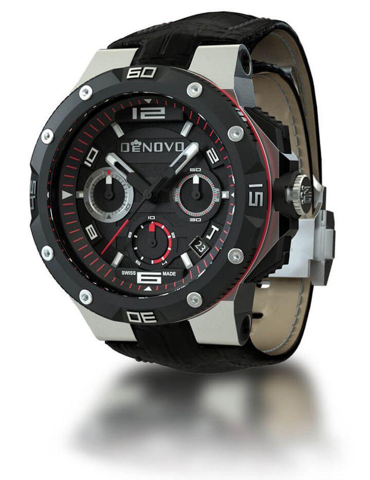DeNovo DN2020-22NRN Men's Watch Black & Red Accents Swiss Made Chronograph Black Italian Leather Strap