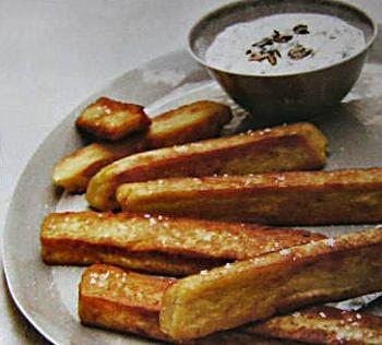 Panisses et fromage frais aux pépins de courges