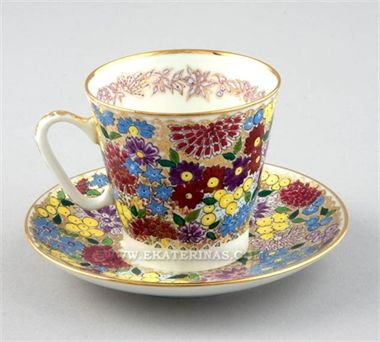 Ekaterina's Imperial Porcelain &Tea. Spring Flowers Cup and Saucer