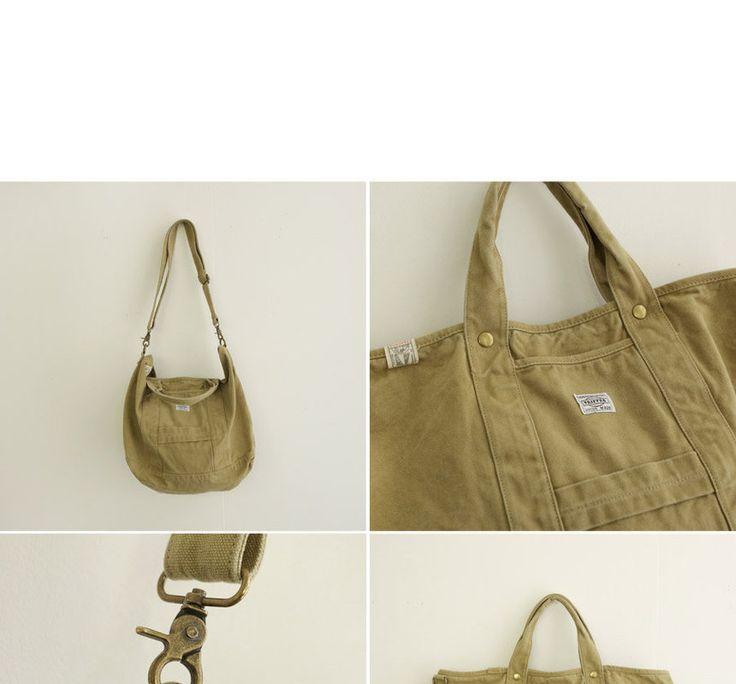 Buy JUSTONE Shoulder Strap Canvas Shopper Bag | YesStyle