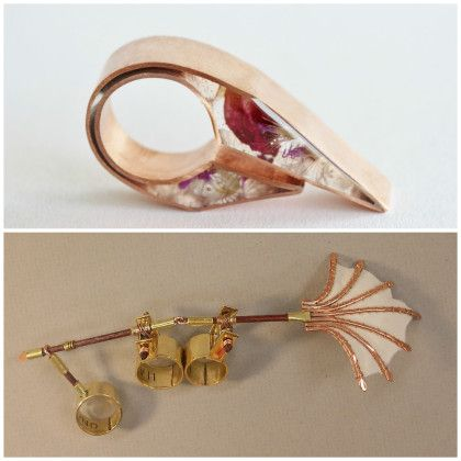 Top: Pocus, Jewelry by Kelci Banks, Grade 12, Age 17, Jeffersonville High School, Jeffersonville, IN; Bottom: There Shall Be Wings!, Jewelry by Nyika Campbell, Grade 11, Age 17, Madison East High School, Madison, WI.