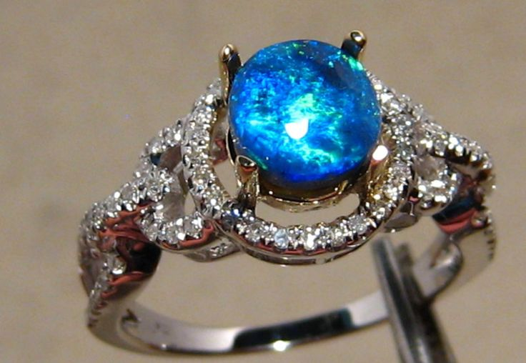 white Opal | ... Opal Rings :: Electric Blue Solid Black Opal & Diamond Ring 14k White