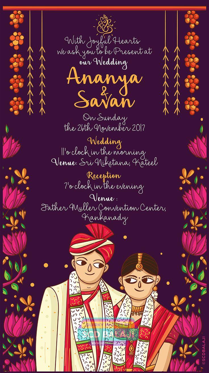 pin on kerala wedding indian invite illustration