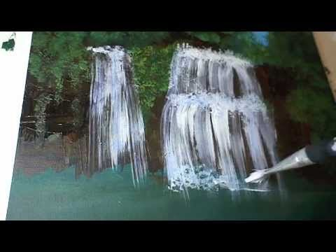 Wasserfall malen für Anfänger - How to paint a Waterfall - Waterfall Painting in Acrylic - YouTube