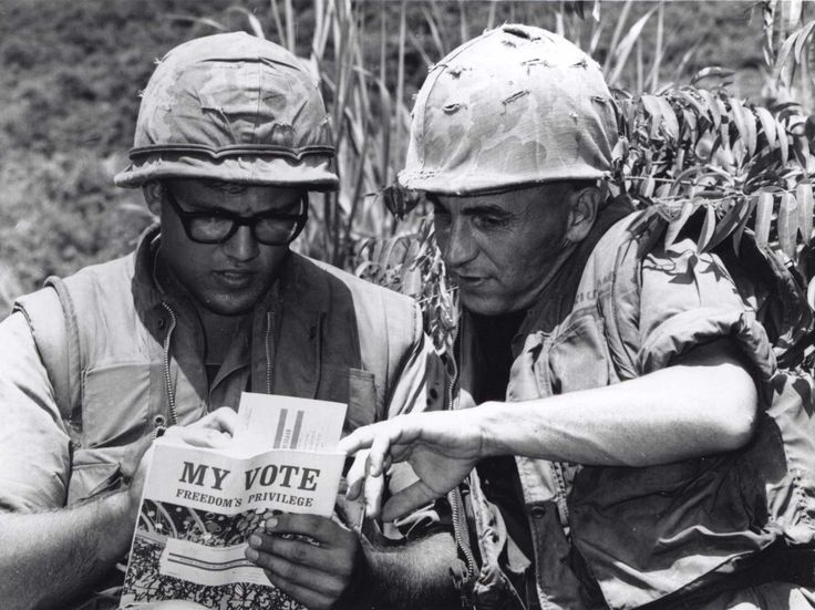 A Marine fills out his voter registration card for the coming 1969 presidential election.
