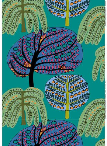 Sadonkorjuu Fabric Green/Turquoise/Orange   Marimekko Upper East Side New York