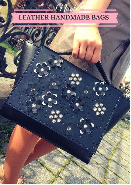 Leather Handmade Bag With Swarovski from Nicole's Accessories by DaWanda.com