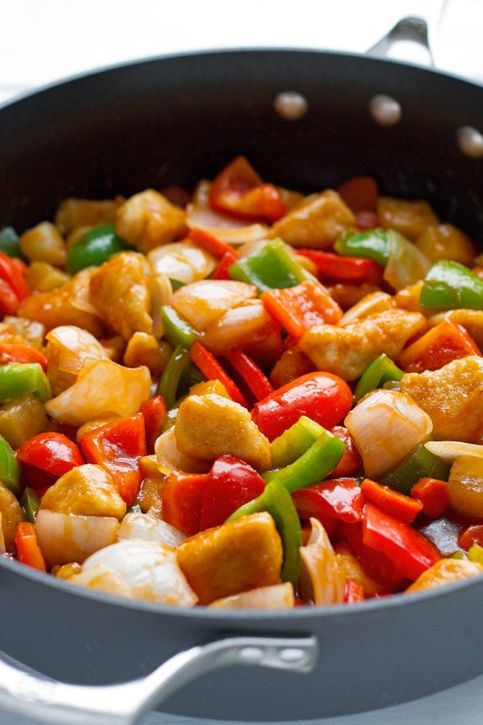 """This classic oriental recipe is perfect for anyone who is trying to eat on the """"lighter"""" side. This lighter sweet & sour chicken recipe is beyond delicious!"""