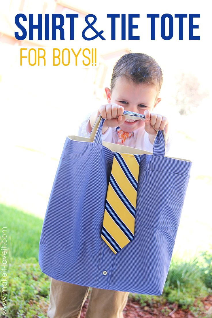 Shirt & Tie Tote Bag......for BOYS! A great way to put those old shirts and ties to good use!