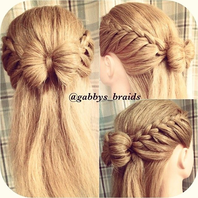 side lace braids to hair bow