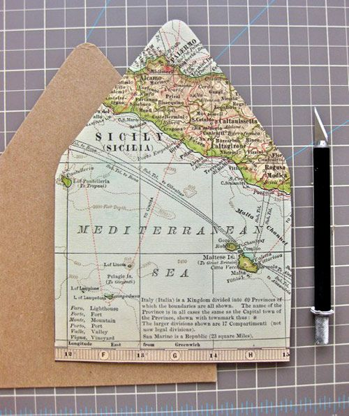 How to dress up the inside of an envelope with a map.  You could use wrapping paper or scrapbook paper for other designs too.