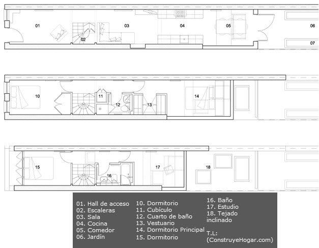 Casa en terreno angosto, planos y diseño de interiores   Construye Hogar