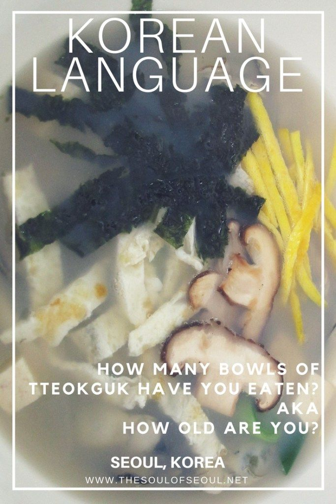 """Korean Language: How Many Bowls of Ttokguk Have You Eaten? AKA How Old Are You?: On Seollal or the Lunar New Year in Korea, eating a bowl of tteokguk is how you age. """"How many bowls of tteokguk have you eaten?"""" Another way to ask """"how old are you?"""" in Korean."""