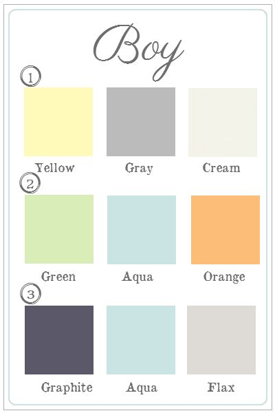 Boy nursery color schemes. I like 2 and 3. Yellow is too intense of a color for an infant.
