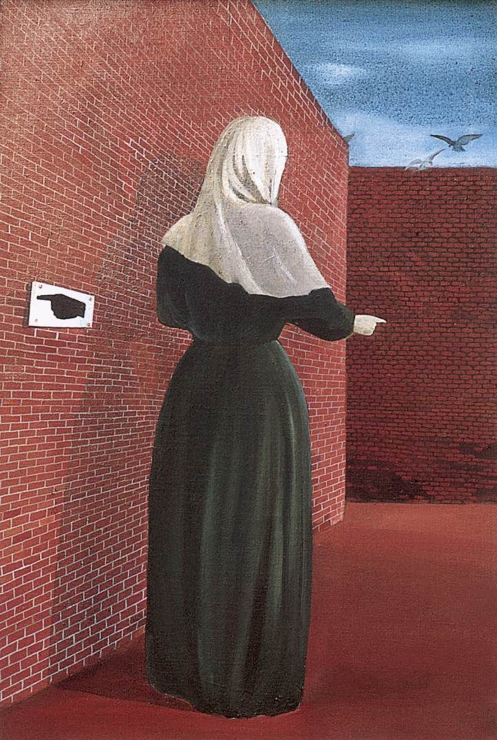 Woman in front of a Wall (Woman with a Veil) 1956 Paintings | Lili Orszag paintings