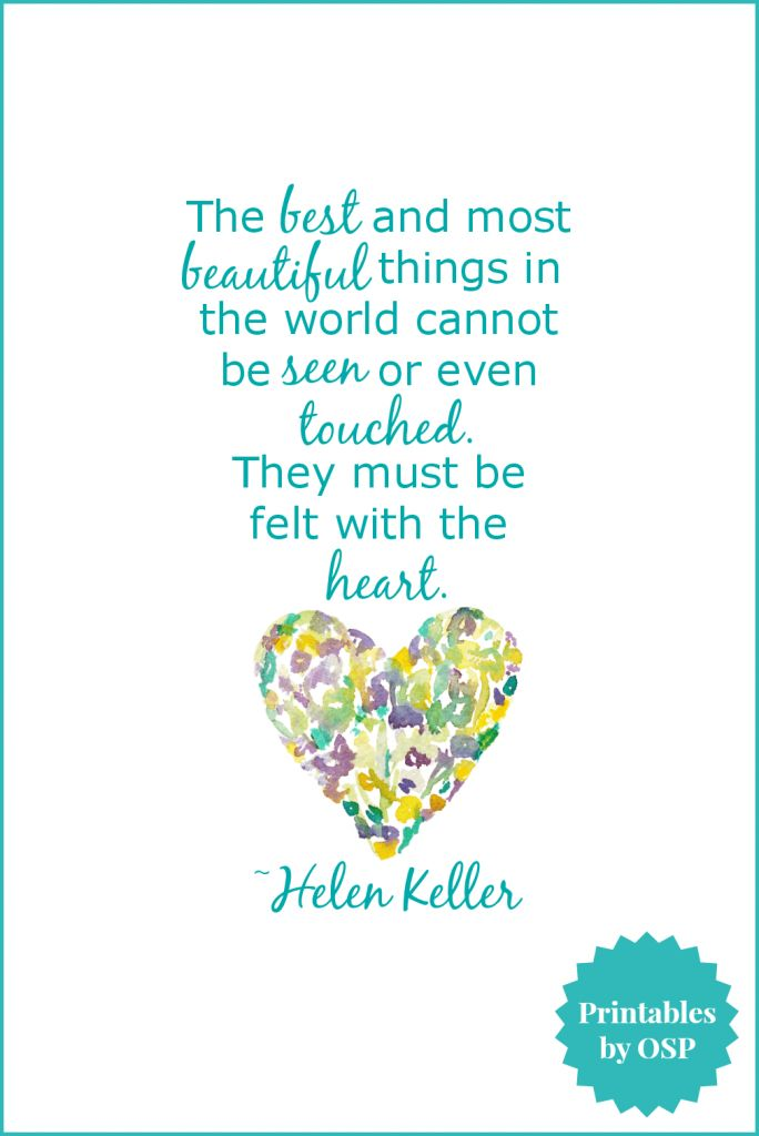 Heart Quote by Helen Keller | Free Printable - love this!!! by On Sutton Place