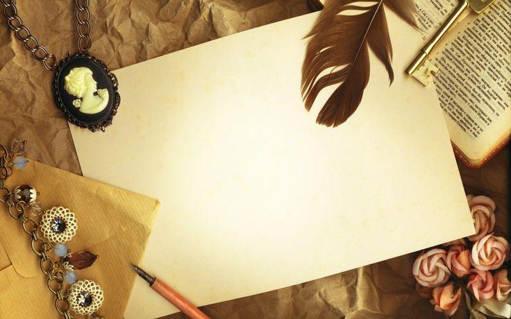 1920x1200 Обои винтаж, бумага, камея, ключ, перо, книга
