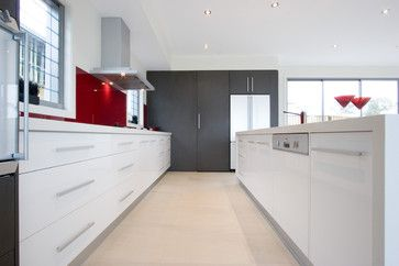 Gloss White Kitchen Red Splashback Design Ideas, Pictures, Remodel and Decor