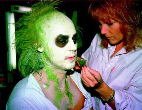 Ve Neill applying make up to Michael Keaton for Beetlejuice. (1988)