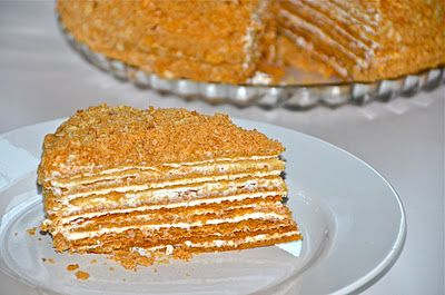 """Russian Honey Cake """"Medovik"""" - Saw a cake like this on 'Best Thing I Ever Ate - Sliced.' Very excited to try making it."""