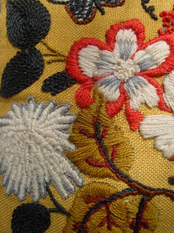 70s Crewel embroidery pillow vintage Fall by TheMixMatchedMutt