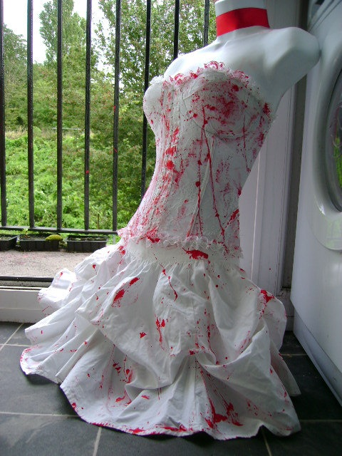 halloween ZOMBIE bride costume blood splattered skirt wedding petticoat swing corpse bride