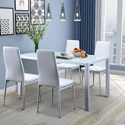 Merax 5pc Glass Top Dining Set 4 Person Dining Table And Chairs Set Kitchen Modern Furniture Dining D Table And Chair Sets Dining Table Chairs Table And Chairs
