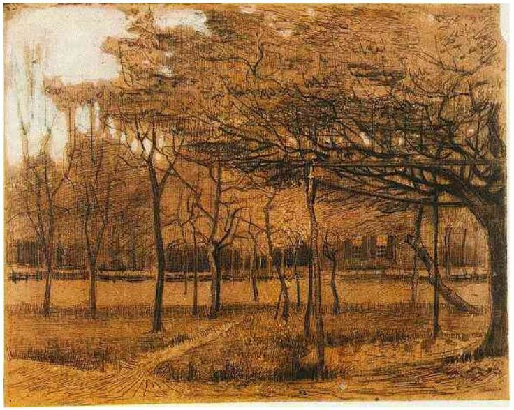 Vincent van Gogh | Landscape with Trees, Etten, June,1881 |  Drawing - Charcoal, pen, brown ink, heightened with white