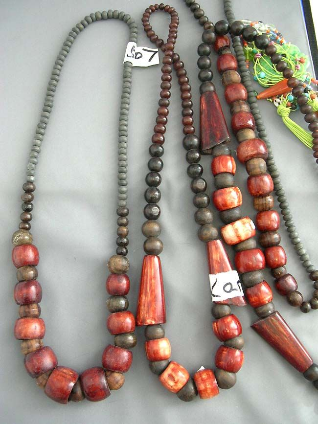 wooden bead necklaces | ... Detail: Balinese designer wear wooden bead necklace in tropical colors