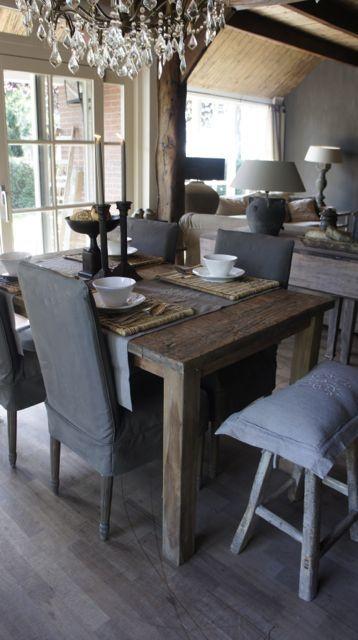 Stoere oud houten teak tafel met koplat    Herbers Lifestyle