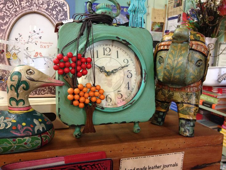 Oversize desk clock in shabby turquoise.  Duck and elephant boho statues to compliment - some great new items at The Green House Cairns.