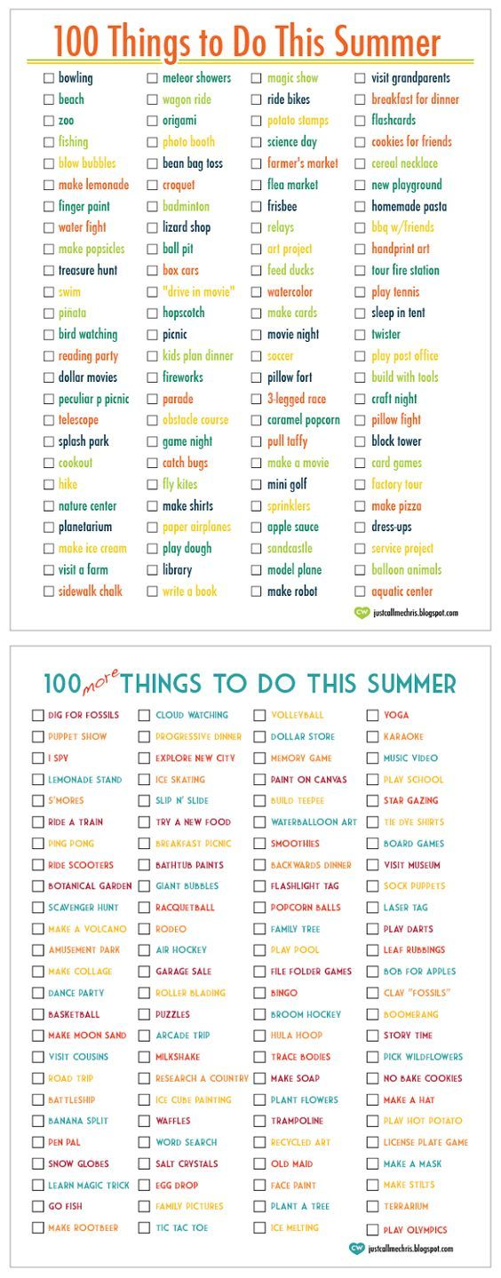 100 Things To Do This Summer… 100 More Things To Do This Summer. Great Ideas… Create Your Own List.: