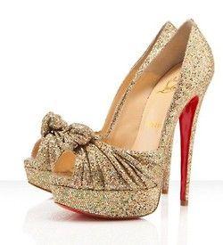 Christian Louboutin Glitter Gold Peep-Toes