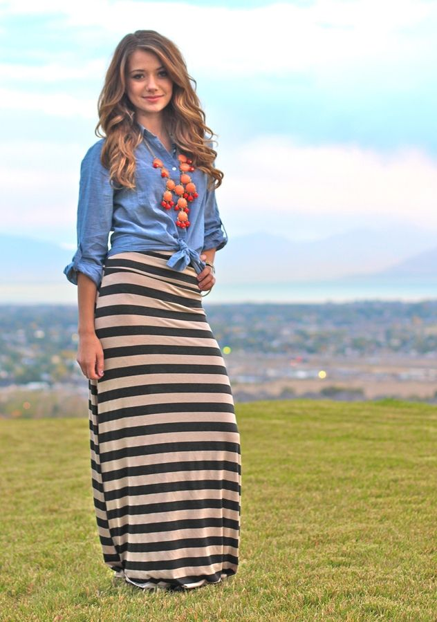 Striped Maxi-Skirts - Super Comfy! Perfect for Fall! | Jane