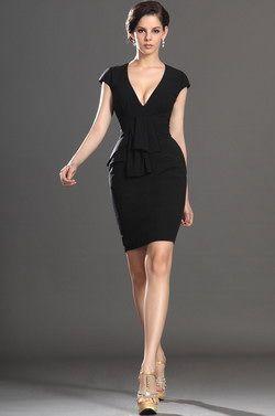 USD 140.81] eDressit New Elegant Black Cap Sleeves Cocktail Dress ...