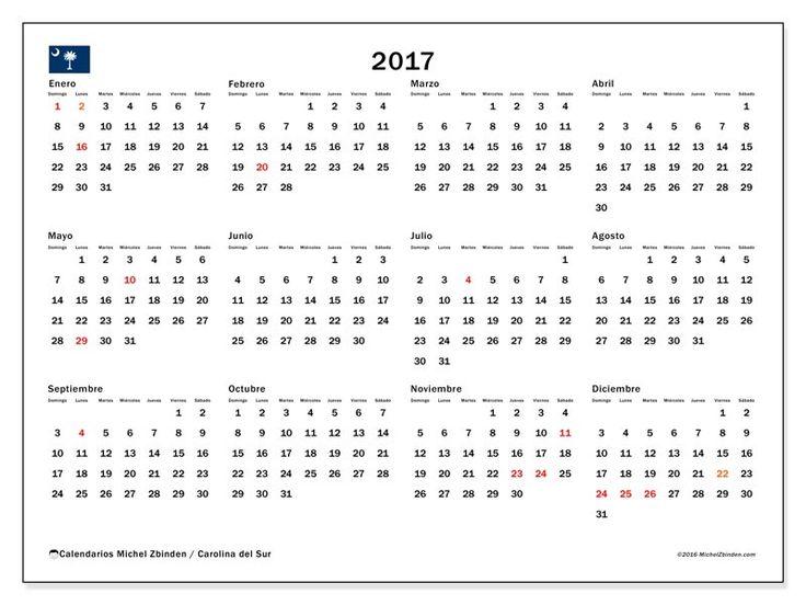 Gratis! Calendarios para  2017 para imprimir - Estados Unidos