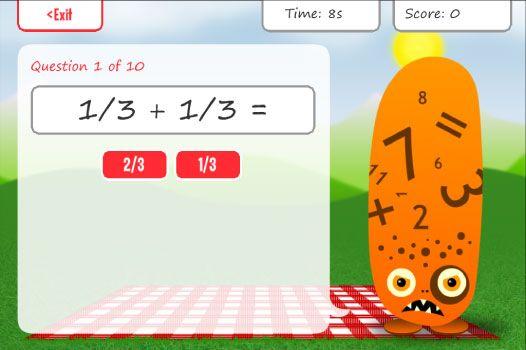 Handige app voor kinderen om de breuken te oefenen.